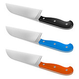 Santoku knife with handle in different color
