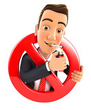 3d businessman smoking cigarette and surrounded by a forbidden sign