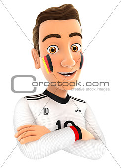 3d german soccer fan with arms crossed