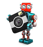Retro robot with camera. Isolated. Contains clipping path