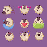 Cute Sheep Chatacter Emotions Collection