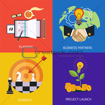 Business banners. business partners, strategy, planning and launch of the project. Vector flat