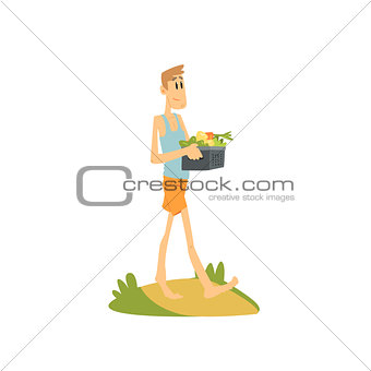 Skinny Farmer Carrying The Vegetables