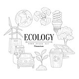 Ecology Icons Vintage Sketch Set