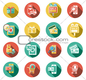 Business and Sales Flat Icons Set