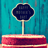 chalkboard with the text happy mothers day on a cake