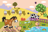 cartoon farm animals in the pasture at evening