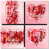 Set of Happy valentines day and weeding design cards