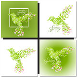 Set of spring green background with leaves