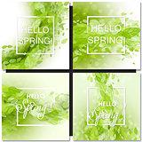 Fresh spring green grass leaves frame