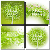 Fresh spring green tree leaves frame
