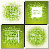 Fresh spring green grass leaves frame