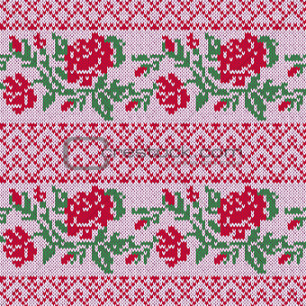 Knitted Seamless Pattern with Roses