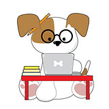 Cute Puppy and Laptop
