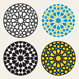 Set of Four Vector Islamic Ornamental Rosette Circle Design Elements