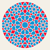 Vector Blue Red Islamic Ornamental Rosette Circle Design Element