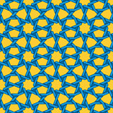 Vector Seamless Blue Yellow Islamic Interlacing Line Star Geometric Pattern