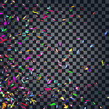 Abstract colorful confetti background. Isolated on the transparent background.