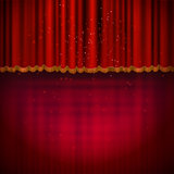 Red floor with red stage curtain