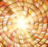 Sun and orange Colored Rope in spiral