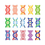 Set of colorful DNA icons.