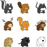 cute baby animals cartoon set pack