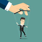 Businessman marionette on ropes controlled hand.  Business concept cartoon illustration