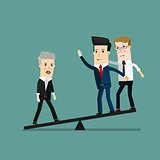 Quality businessman weighing more than four business people, Leadership, Important people concept. Business concept cartoon illustration
