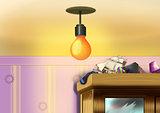 Lamp shines
