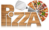 Pizza - Wooden Symbol with Slices of Pizza