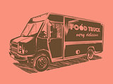 Painted vector food truck on a pink background.