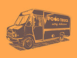 Painted vector food truck on a orange background.