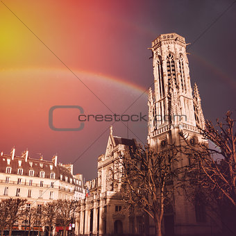 Church of Saint-Germain l'Auxerrois with Rainbow