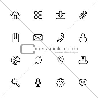 black line simple web icon set