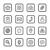 black line web icon set with rounded rectangle frame