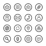 black line web icon set with circle frame