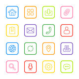 colorful line web icon set with rounded rectangle frame