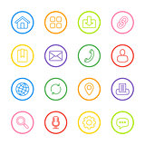 colorful line web icon set with circle frame