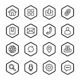 black line web icon set with hexagon frame