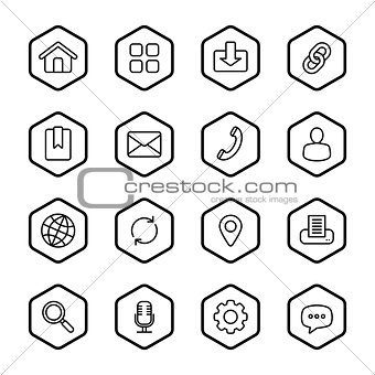 black line web icon set with hexagon frame
