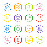 colorful line web icon set with hexagon frame