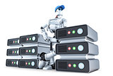 Robot with a stack of servers, hosting concept. Isolated. Contains clipping path