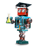Graduate Retro robot with laboratory glassware. Isolated. Contians clipping path