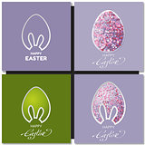 Happy Easter cards set with bunny ears