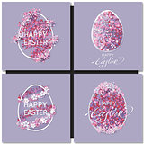 Easter set with easter eggs on purple background.