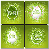 Easter set with easter eggs on green background.