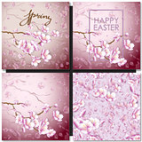 Set of greeting cards with a blossom sakura for your design