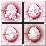 Easter set with easter eggs on pink background.