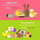 Easter Greetings Flat Website Banners Set