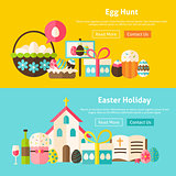 Happy Easter Flat Website Banners Set